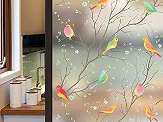 Privacy Window Film Opaque Non Adhesive Frosted Bird Window Film Decorative Glass Film Static Cling Film   unknown size  STAIN GlASS lOOK