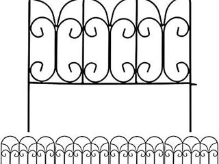 AMAGABElI GARDEN   HOME Decorative Garden Fence GFP004 18in x 7 5ft Coated Metal Outdoor Rustproof landscape Wrought Iron Wire Border Fencing Folding Patio Fencing Flower Barrier Section Panel Decor