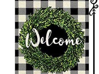 Spring Boxwood Wreath Welcome Small Garden Flag Vertical Double Sided Black White Buffalo Check Plaid Rustic Farmhouse Burlap Flag Yard Outdoor Decoration Seasonal Flag 12 5 x 18