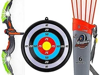 Toysery Bow and Arrow for Kids with lED Flash lights   Archery Bow with Suction Cups Arrows  Target  and Quiver  Practice Outdoor Toys for Children Above 3 12 Years Old  only 2 arrows