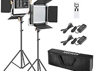 Neewer 2 Packs Advanced 2 4G 480 lED Video light Photography lighting Kit with Bag  Dimmable Bi Color lED Panel with 2 4G Wireless Remote  lCD Screen and light Stand for Portrait Product Photography