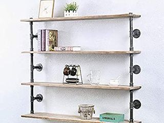 Industrial Pipe Shelf Real Wood Floating Shelves Rustic 4 Tier Wall Shelf Bar Pipe Shelving Steampunk Pipe Shelves Wall Mounted Metal Bookshelf Kitchen Wall Shelves