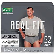 Depend Real Fit Incontinence Underwear for Men  Maximum Absorbency  l Xl Gray   52ct