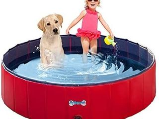V HANVER Foldable Dog Pool Hard Plastic Collapsible Pet Bath Tub for Dogs Cats and Kids