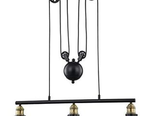 WOXXX Three light Pulley Pendant light  Industrial Farmhouse Chandelier Modern Pendant lighting Adjustable