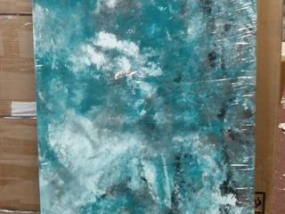Teal and Grey Abstract Canvas Art