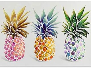 SEVEN WAll ARTS   Modern Colorful Pineapples Painting Tropical Fruit Art Framed Artwork for living Room Kitchen Home Decor Ready to Hang