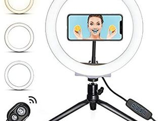 lED 10 2  Ring light with Desktop Tripod Stand  Makeup Ring light with 3 light Modes   10 Brightness level  Flexible Phone Holder and Desk light for Makeup YouTube Video  live Stream  Shooting