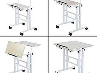 SDADI 2 Inches Carpet Wheels Mobile Standing Desk Stand Up Desk Height Adjustable Home Office Desk