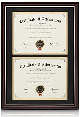 ElSKER HOME Double Document Photo Wood Frame Made for Certificates Diploma for Two 8 5x11 Inch with Mat or 13 5x20 Inch Without Mat for Document Certificate  Double Mat  Black Mat with Golden Rim