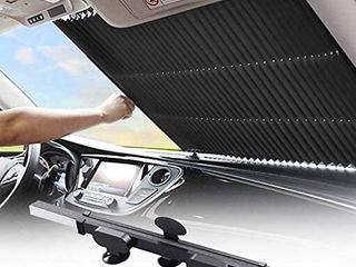 Retractable Windshield Sun Shade for Car  large Sun Visor Protector Blocks 99  UV Rays to Keep Your Vehicle Cool  Auto Sunshade Fits Front Window of Various Models with Suction Cups