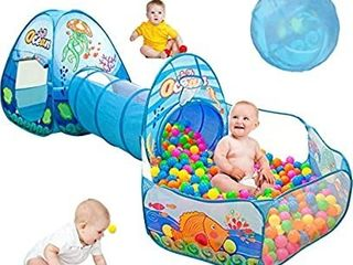 SUNBA YOUTH Kids Ball Pit Tents and Tunnels Pop Up Playhouse Play Tent Crawl Tunnel   Ball Pit with Basketball Hoop for Kids Toddlers  Indoor   Outdoor Gift