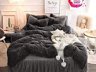 Faux Fur Velvet Fluffy Bedding Duvet Cover Set  Quilt Cover 3 Pieces Plush Shaggy Duvet Cover Set Queen  Grey  bed cover and two pillow covers