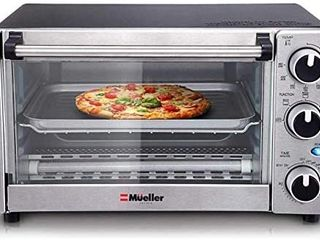 Toaster Oven 4 Slice  Multi function Stainless Steel Finish with Timer   Toast   Bake   Broil Settings  Natural Convection   1100 Watts of Power  Includes Baking Pan and Rack by Mueller Austria