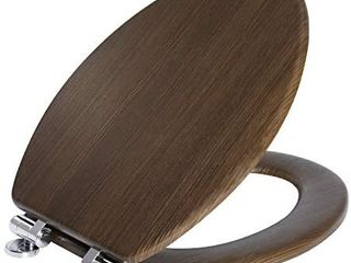 Angel Shield Toilet Seat Molded Wood with Quiet Close Easy Clean Quick Release Hinges Covering with PVC Wood Pattern Elongated Wood Brown