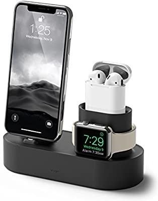 3 in 1 Apple Charging Station Compatible with Apple Watch Series 6 SE 5 4 3 2 1  Apple AirPods 2 1  iPhone 11 and All iPhone Models  Original Cables Required   Black