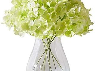 Kislohum Artificial Hydrangea Flower Heads Hydrangea Silk Flowers Head for Wedding Centerpieces Bouquets DIY Floral Decor Home Decoration Pack of 10 with long Stems   Pale Green