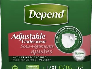 Depend Adjustable Underwear  Maximum Absorbency  large X large  16 Count