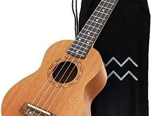 Kailua 4 String Soprano Ukulele   Hand Crafted Mahogany Wood Vintage Style Hawaiian Musical Instrument   Best Ukulele to learn How to Play   Black Nylon Bag Included as Carrying Case