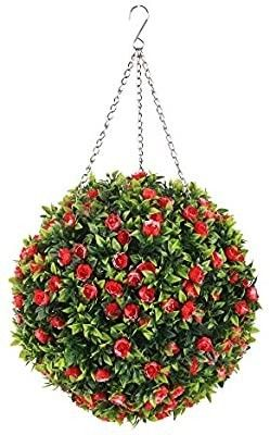 ROY 10 5 inch Hanging Topiary Ball Artificial Flowers Ball Plant with Chain