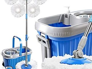 Masthome Spin Mop and Bucket System with Wheels   5 Microfiber Mop Heads 8l Stainless Steel Mop Bucket with Detergent Dispenser