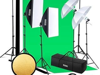 ESDDI lighting Kit Adjustable Max Size 2 6Mx3M Background Support System 3 Color Backdrop Fabric Photo Studio Softbox Sets Continuous Umbrella light Stand with Portable Bag
