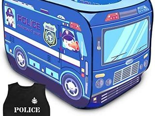 FUN lITTlE TOYS Police Toy Car Pop Up Play Tent for Kids with Policeman Costume  Kids Tent for Indoor   Outdoor