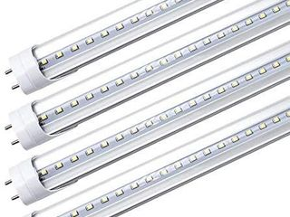 lightingWill lED T8 light Tube 2FT  Daylight White 5000K  Dual End Powered Ballast Bypass  1000lumens 10W  24W Equivalent Fluorescent Replacement  Clear Cover  AC85 265V lighting Tube Fixture  4 Pack