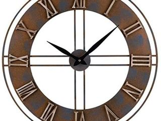 23 6 Inch Oversized Rustic Metal Silent Non Ticking Battery Operated Decorative Wall Clock with large Roman Numerals