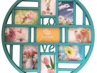 Mkun 4x6 Wall Collage Photo Frames  Round Circular Wall hanging Picture Collage Frame with lOVE word art  9  Opening  White