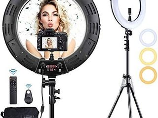 Inkeltech Ring light   18 inch 3000K 6000K Dimmable Bi Color light Ring  60W lED Ring light with Stand  lighting Kit for Vlog  Selfie  Makeup  YouTube  Camera  Phone   lCD Screen   Remote Control