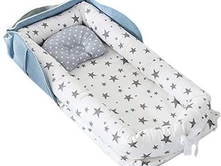 Abreeze Baby Nest Baby Bassinet for Bed Baby Bassinet Bedside Crib  Grey Stars Baby lounger   Breathable   Hypoallergenic Co Sleeper for Baby   100  Cotton Portable Crib Beds for Newborns