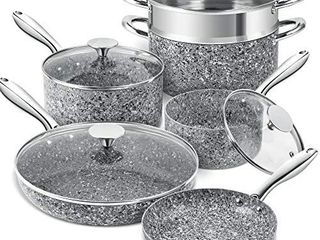 MICHElANGElO Stone Cookware Set 10 Piece  Ultra Nonstick Pots and Pans Set with Stone Derived Coating  Kitchen Cookware Sets  Stone Pots and Pans Set  Granite Pots and Pans   10 Piece