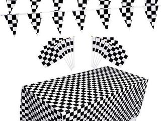 Racing Flag Set  Include 10 Packs Checkered Flags  32 Ft Checkered Race Flag Banner  2 Packs Table Covers for Checkered Racing Flag Party  Birthdays Part