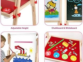 Kids Wooden Art Easel Double Sided Whiteboard and Chalkboard Adjustable Standing Easel with Paper Roll Holder letters and Numbers Magnets and Other Accessories Gift for Kids Toddlers Boys and Girls