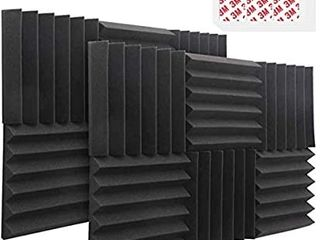 Acoustic Foam Panels  12 Pack 2  X 12  X 12  Sound Proof Padding Studio Foam Wedge Tiles Sound Absorbing Dampening Foam Panels  Ideal for Wall Soundproofing Treatment  Black 6 Slots  With Tapes