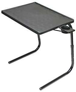 Table Mate II Folding TV Tray Table and Cup Holder with 6 Height and 3 Angle Adjustments the Original TV Tray  Black