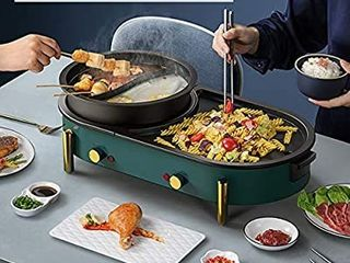 2200W Electric Smokeless Grill and Hot Poti1 42 in 1 Non Stick and Easy to Clean BBQ and Shabu Shabu Pot with Independent Temperature Control for 2 8 People Party  Green