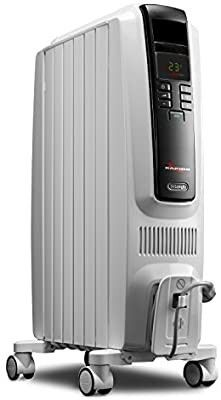 De longhi Oil Filled Radiator Space Heater  Quiet 1500W  Adjustable Thermostat Timer  Energy Saving  Safety Features  Nice for Home with Pets Kids  light Gray