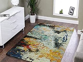 lEEVAN Faux Wool Area Rug 60  x 90  Traditional Rectangle Throw Runner Rug Non Slip Backing Soft Wool Floor Carpet