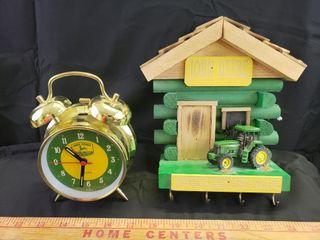 John Deere Wall Key Holder   Alarm Clock