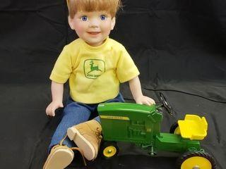John Deere  Bobby  Porcelain Doll w  Pedal Tractor