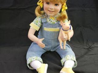 John Deere  Jessie  Porcelain Doll with Pig