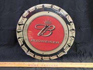 Budweiser Bottle Cap Tin Sign