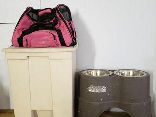 Doggie Assortment   Carrier  bowls  Food Bin