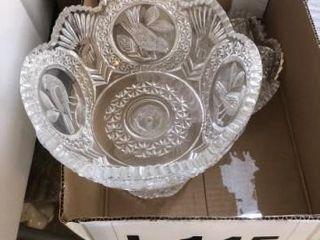 Vintage crystal fruit bowl  crystal stem ware
