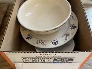 Frankoma white dishes with purple and