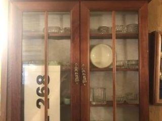Wooden display cabinet  crystal salt dishes