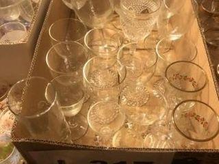 Box of juice glasses  misc  wine stem ware
