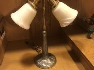 Vintage pewter type double light lamp and